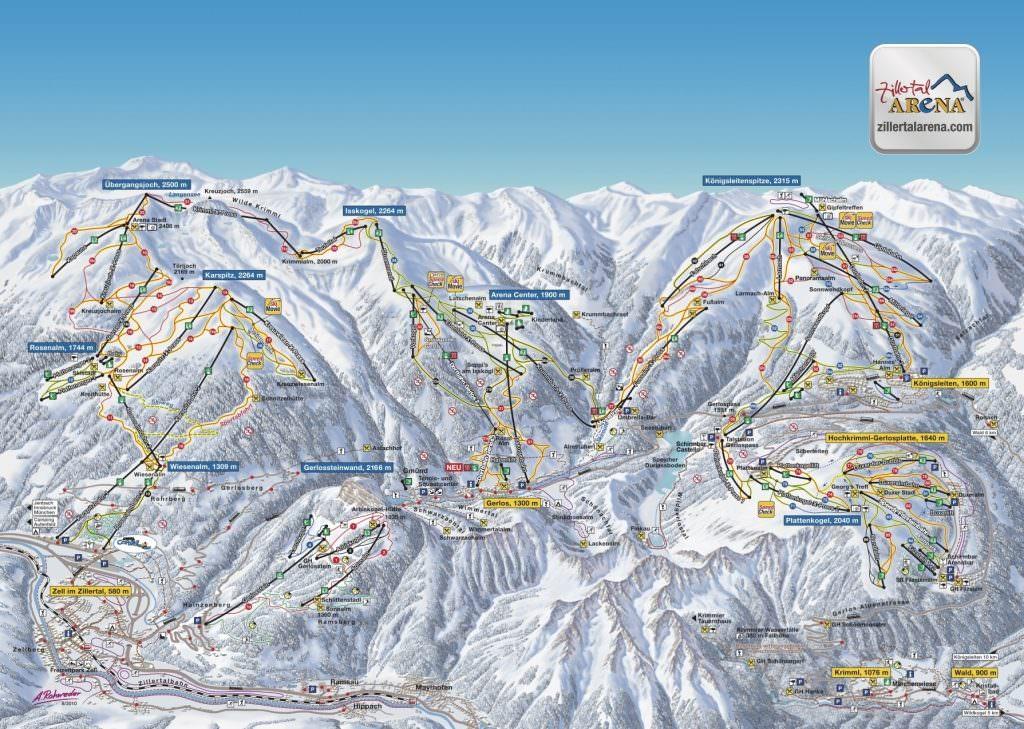 Gerlos Wintersport: plattegrond van het skigebied