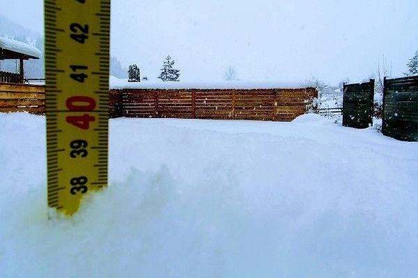 In Lienz ligt 40 cm, sneeuw.