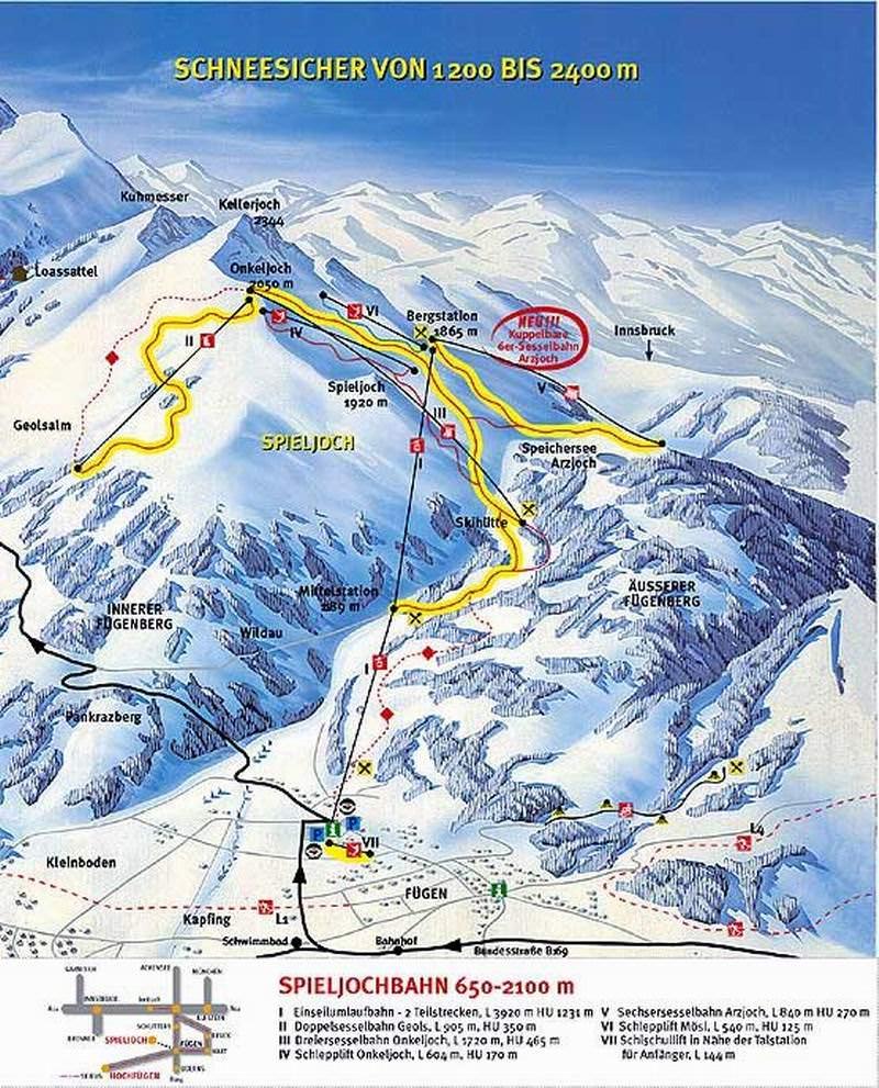 Wintersport Fügen - Skigebied Fügen plattegrond