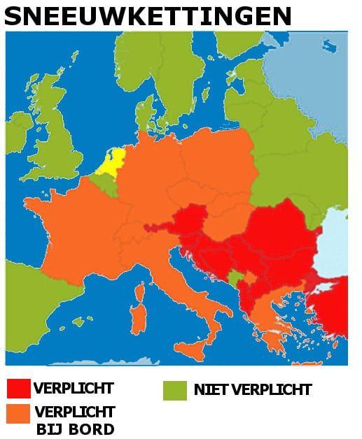 Overzicht in welke landen sneeuwkettingen verplicht zijn
