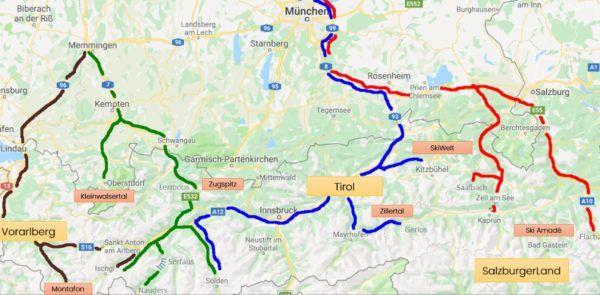 Beste route naar Oostenrijk - skigebieden