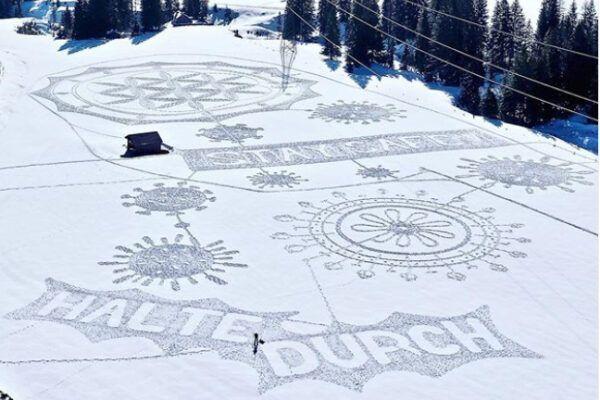 Wauw! Sneeuwkunst in strijd tegen Corona