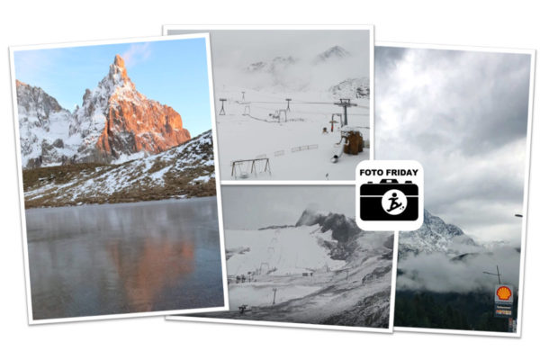 Live: witte bergtoppen aan het begin van de herfst