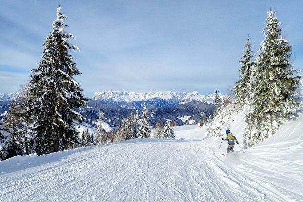 Lege piste flachau, skier, sneeuw op bomen.