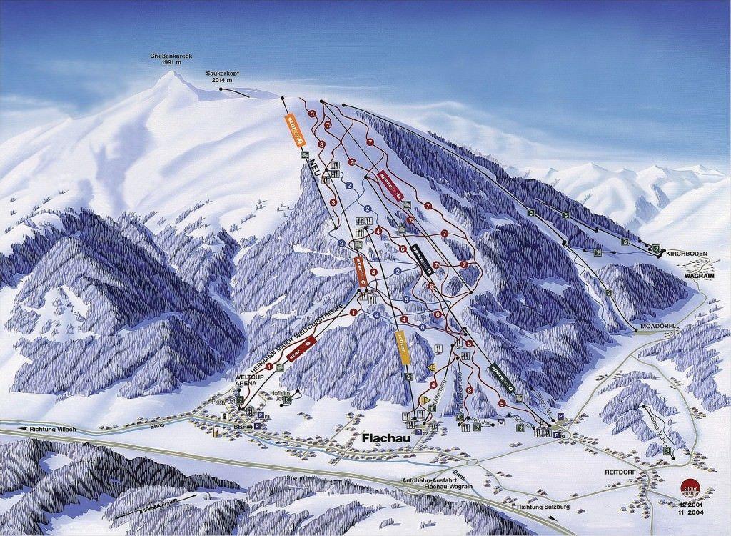 plattegrond skigebied Flachau, pisteplan flachau