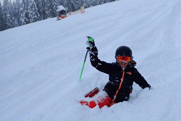 Skiën leer je met vallen en opstaan.