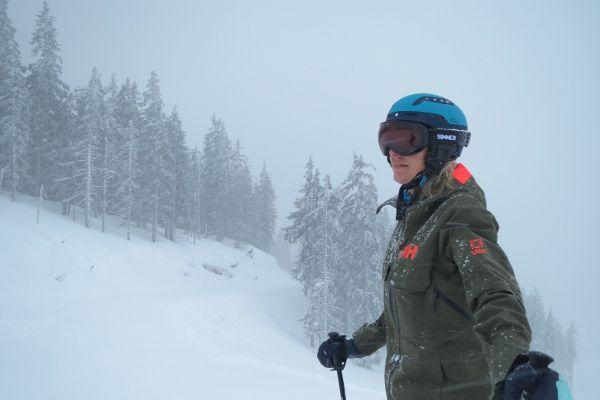Test Sinner Nauders skibril tijdens hevige sneeuwval op de piste