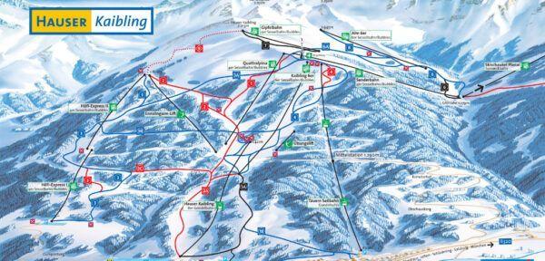 Plattegrond van het skigebied Hauser Kaibling.