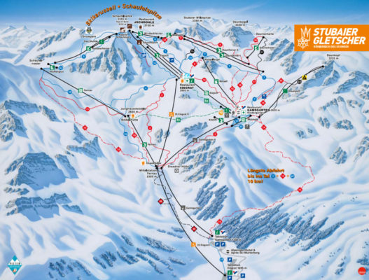 Plattegrond skigebied Stubaier Gletsjer