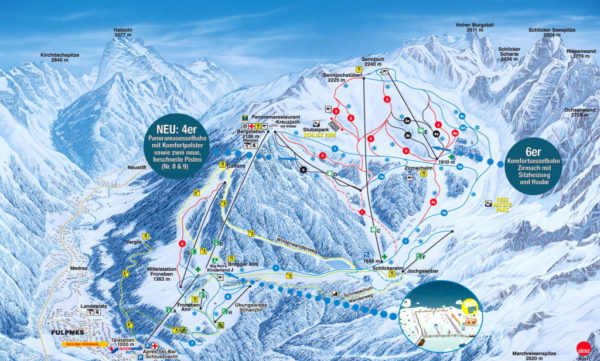 Plattegrond skigebied Schlick 2000