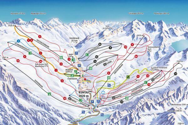 Plattegrond skigebied Kühtai
