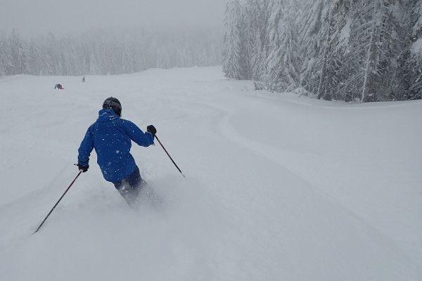 Poeder skiën op een piste