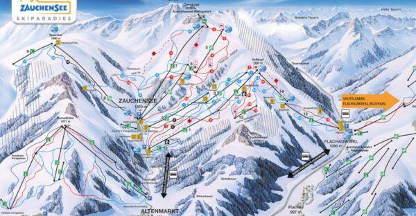 Platttegrond van skigebied Zauchensee.