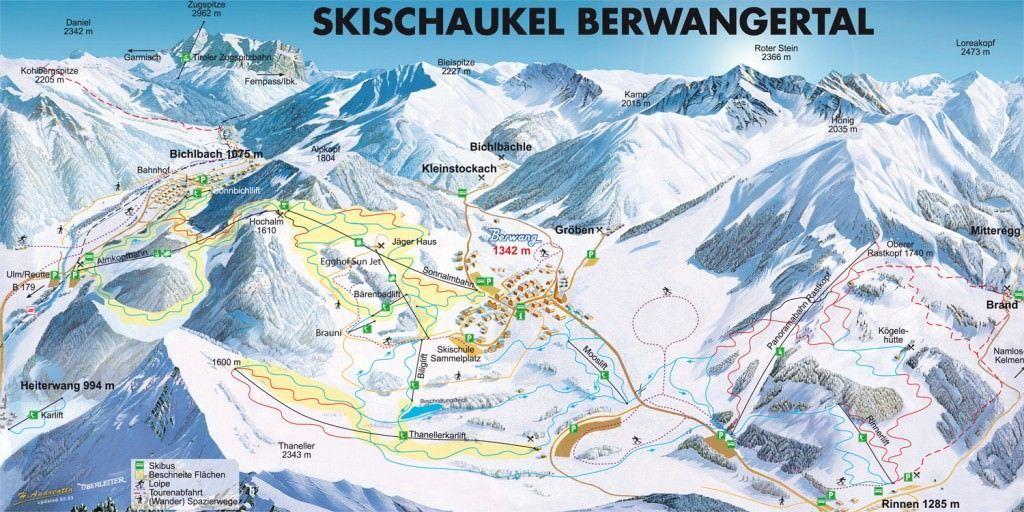 Wintersport Berwang, Plattegrond van het skigebied Berwang