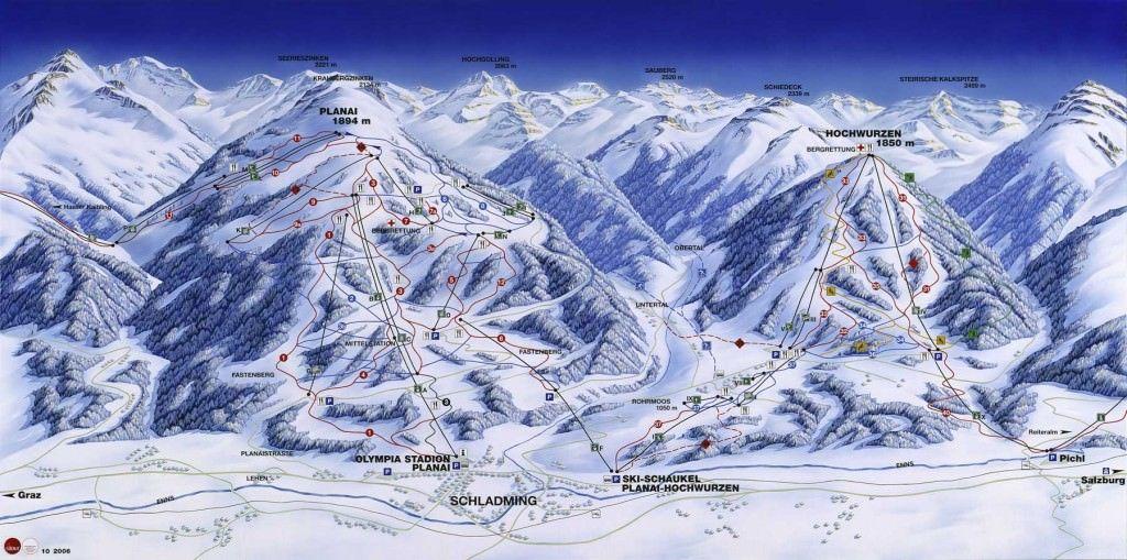 Wintersport in skigebied Schladming - plattegrond van de pistes