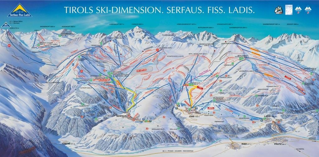 Skigebied Fiss-Serfaus-Ladis pisteplan plattegrond map