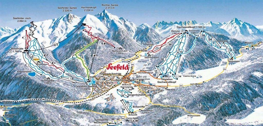 Plattegrond van het skigebied Seefeld. Ter voorbereiding op wintersport Seefeld.