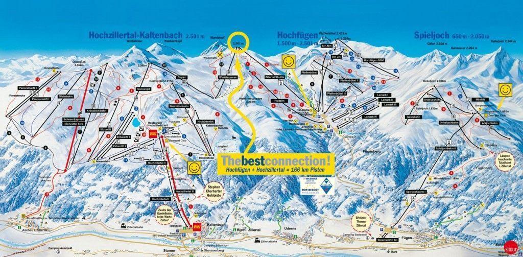 plattegrond skigebied ski optimal hochfugen en kaltenbach