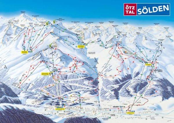 Plattegrond van het skigebied van Sölden