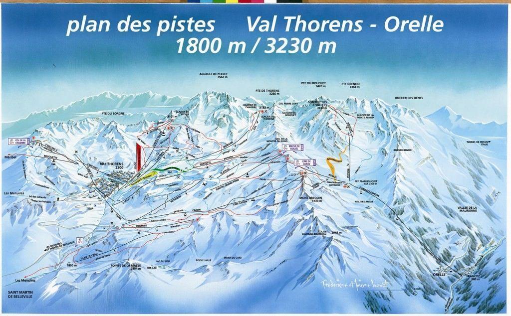 Wintersport Val Thorens - plattegrond van het skigebied