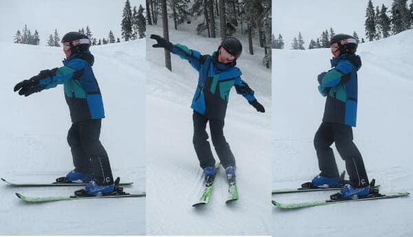 Ski oefeningen voor kinderen zonder stokken