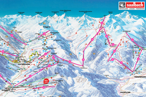 Overzicht van The Challenge skironde in Saalbach
