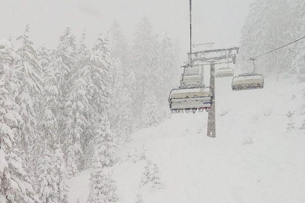 sneeuw in de skilift