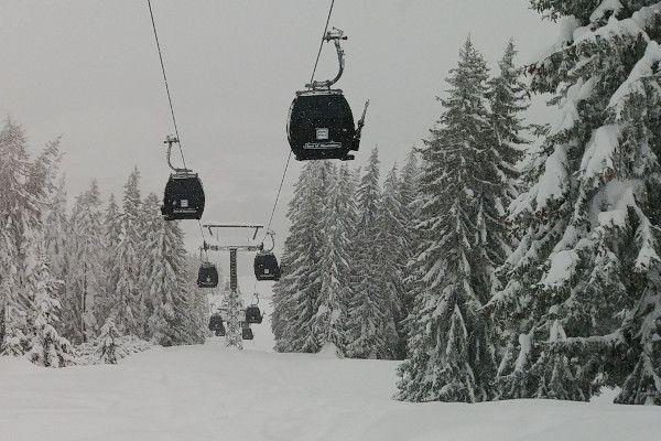 Sneeuw in skigebied Flachau