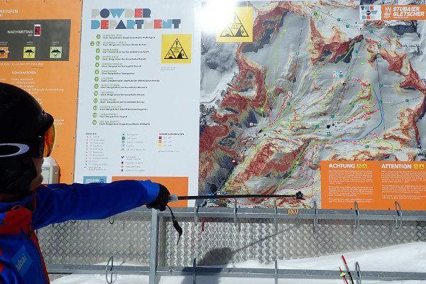 Freeride mogelijkheden staan duidelijk aangegeven op de Stubaier gletsjer.