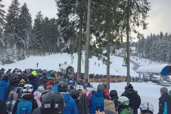 wachtrij wintersport