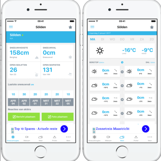 Sneeuwhoogte en ski info app voor wintersport