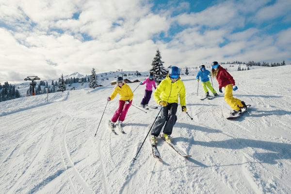 beginnende wintersporters